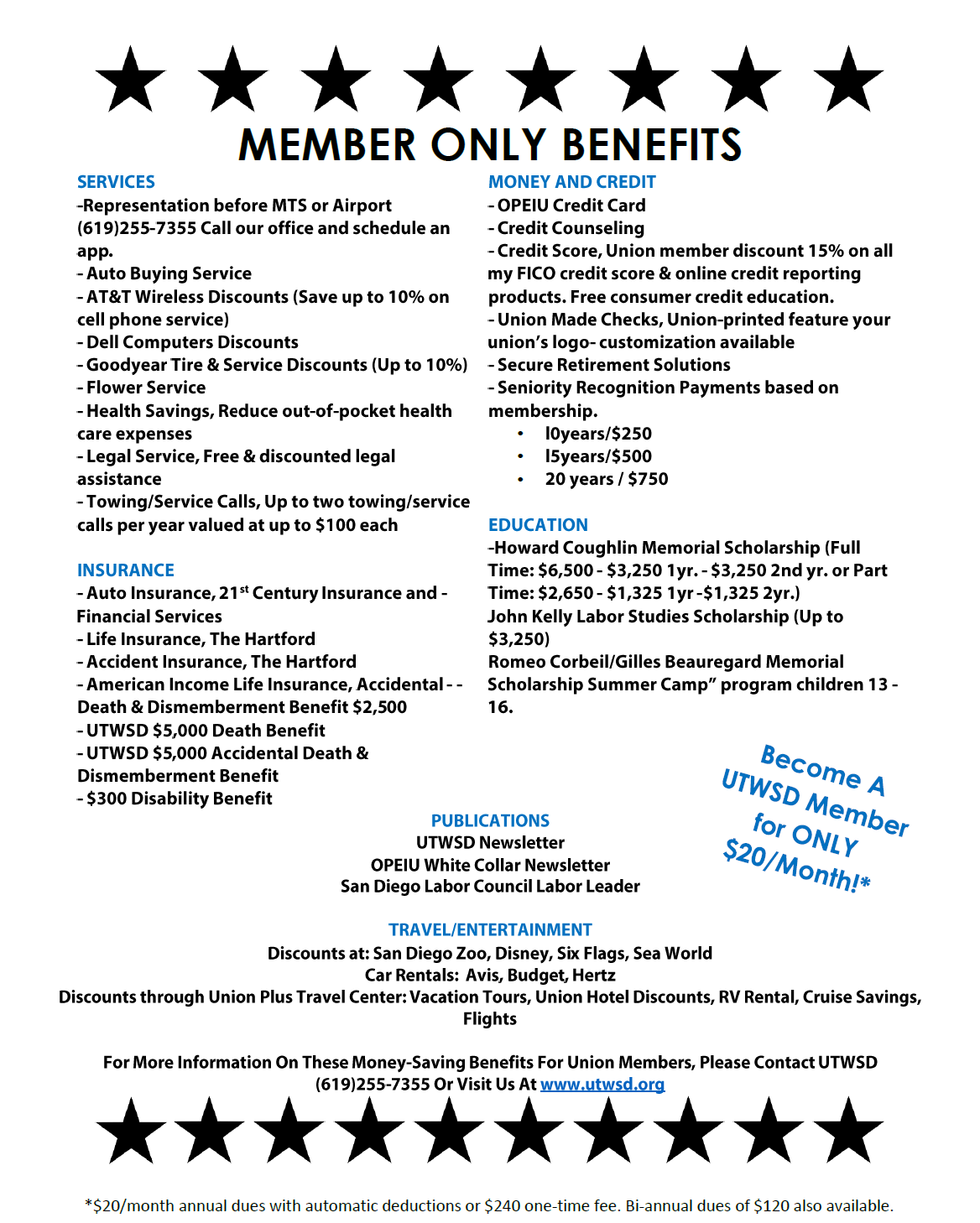 NEW BENEFITS! JOIN UTWSD MEMBERSHIP DRIVE!